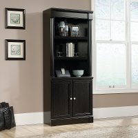 Black Oak Library with Doors - Padillia