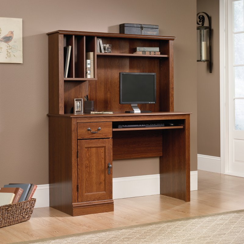 Planked Cherry Computer Desk with Hutch - Camden County