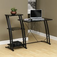 Black/Glass Tiered Desk - Deco