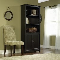 Black Library Bookcase with Doors - Edge Water
