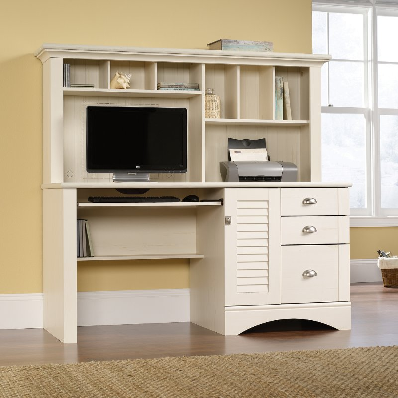 Antiqued White Computer Desk with Hutch - Harbor View