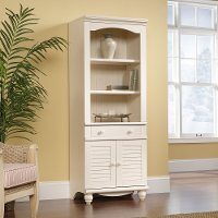 Antiqued White Library Bookcase with Doors - Harbor View