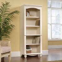Antiqued White Library Bookcase - Harbor View