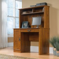 Abbey Oak Computer Desk with Hutch - Harvest Mill