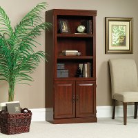 Classic Cherry Library Bookcase with Doors - Heritage Hill
