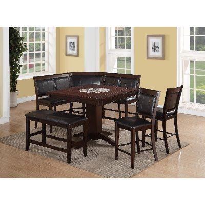 7 Piece Counter Height Dining Set   Transitional Harrison Brown