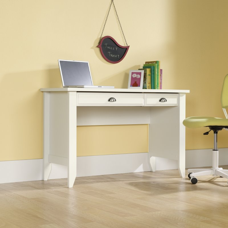 Soft White Computer Desk - Shoal Creek