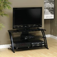 Black/Glass Panel TV Stand - Deco