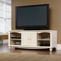 Antiqued White TV Stand - Harbor View