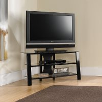 Black/Glass Panel TV Stand - Mirage