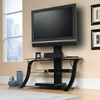 Black/Black Glass TV Stand with Mount
