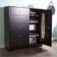 3170045 Black Door Chest with 5 Drawers - Vito