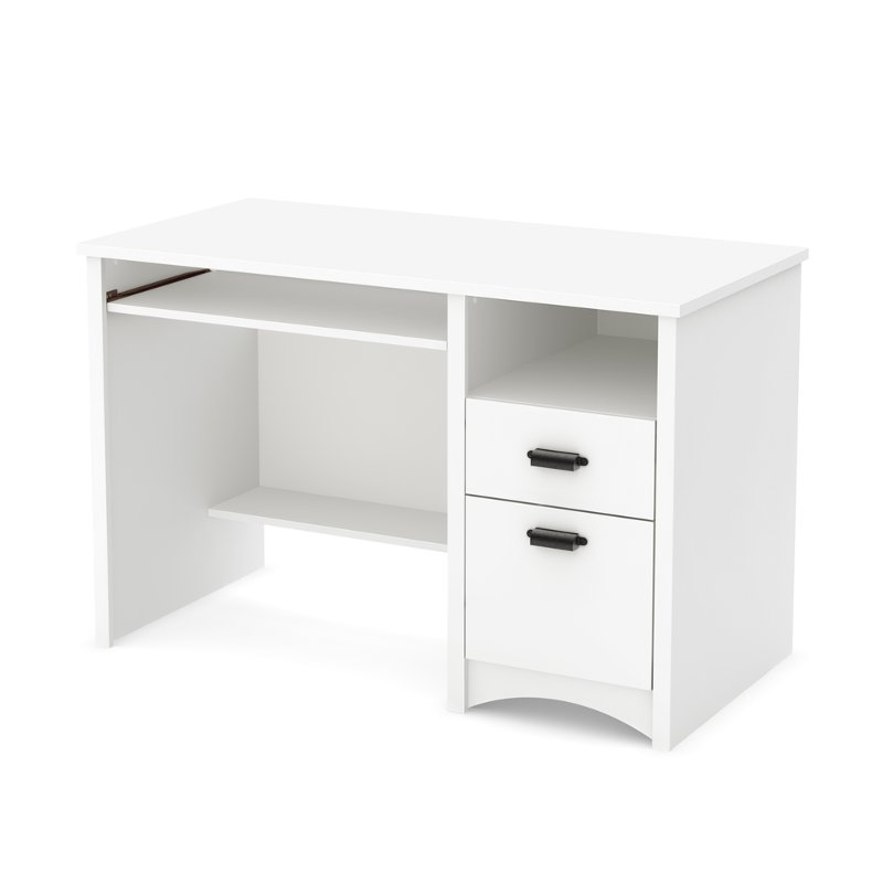 White Computer Desk with Keyboard Tray - Gascony
