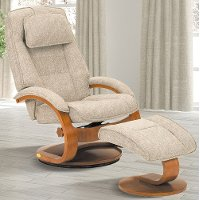Teatro Tan Linen Swivel Recliner with Ottoman - Oslo