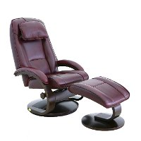 Merlot Red Top Grain Leather Swivel Recliner with Ottoman - Oslo