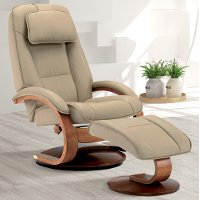 Cobblestone Tan Top Grain Leather Swivel Recliner with Ottoman - Oslo