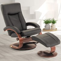 Black Top Grain Leather Swivel, Recliner with Ottoman - Oslo