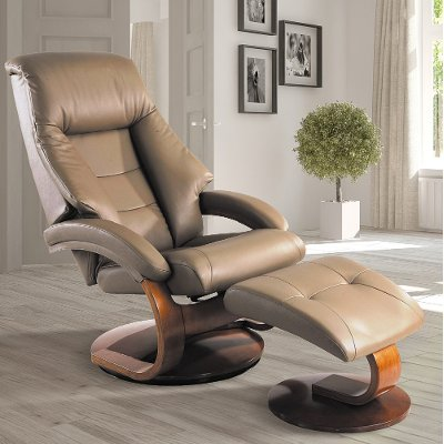 Sand Top Grain Leather Swivel Recliner With Ottoman   Oslo