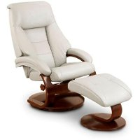 Putty Gray Top Grain Leather Swivel Recliner with Ottoman - Oslo