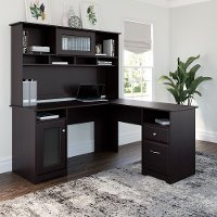 Espresso Oak L-Desk and Hutch - Cabot