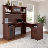 Harvest Cherry L Desk and Hutch - Cabot