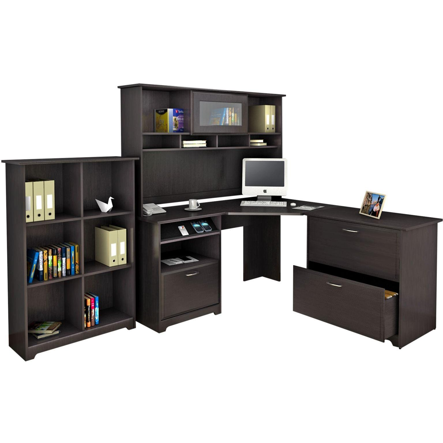 Espresso Oak Corner Desk With Hutch Lateral File And Bookcase Cabot Rc Willey Furniture