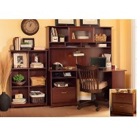 Harvest Cherry Corner Desk with Hutch, File, and Bookcase - Cabot