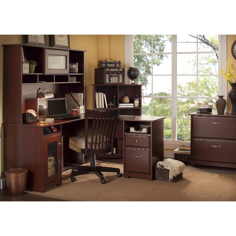 Harvest Cherry L Desk with Hutch, File, and Bookcase - Cabot