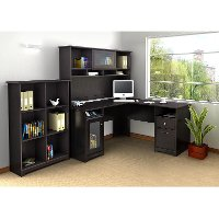 Espresso Oak L Desk with Hutch and Bookcase - Cabot