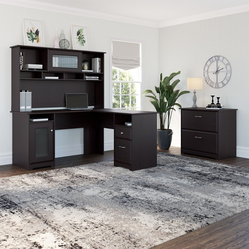 Espresso Oak L-Desk with Hutch and Lateral File - Cabot