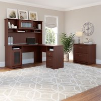 Harvest Cherry L-Desk with Hutch and Lateral File - Cabot