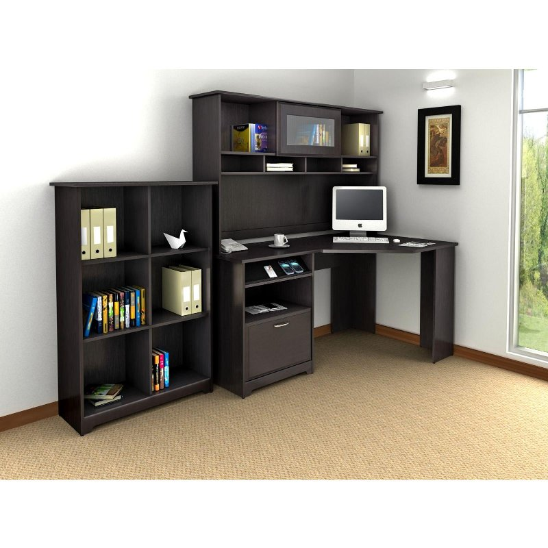 Espresso Oak Corner Desk with Hutch and Bookcase - Cabot