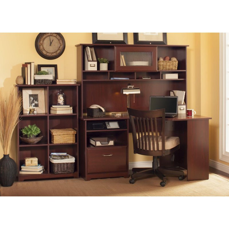 Harvest Cherry Corner Desk with Hutch and Bookcase - Cabot