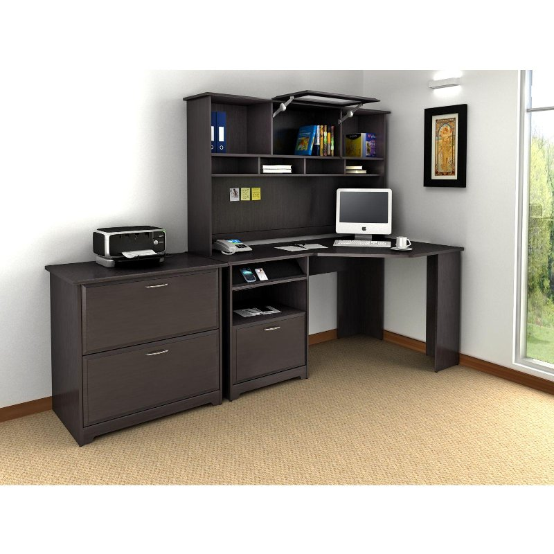 Espresso Oak Corner Desk with Hutch and Lateral File - Cabot