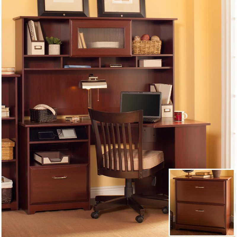 Harvest Cherry Corner Desk with Hutch and Lateral File - Cabot