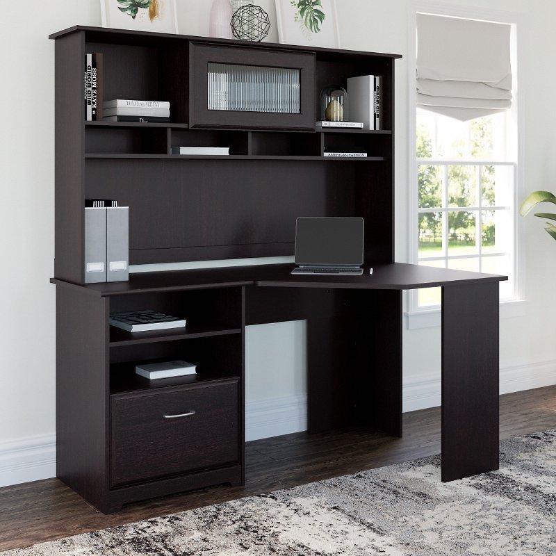 Espresso Oak Corner Desk with Hutch - Cabot