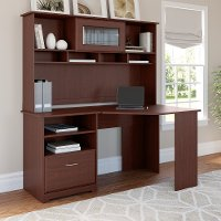 Harvest Cherry Corner Desk with Hutch - Cabot