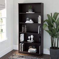 Espresso Oak 5-Shelf Bookcase - Cabot