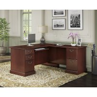 Kathy Ireland® Cherry L-Desk - Bennington
