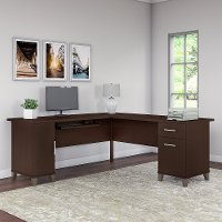 Mocha Cherry 72W L Shaped Desk - Somerset