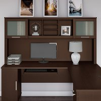 Mocha Cherry 72W L Shaped Desk Hutch - Somerset