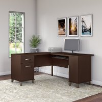 Mocha Cherry L-Desk (60 Inch) - Somerset