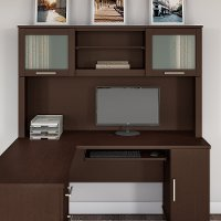 Mocha Cherry 60W L Shaped Desk Hutch - Somerset