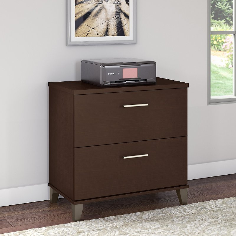 Mocha Cherry 2 Drawer Lateral File Cabinet - Somerset