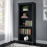 Antique Black Executive 5-Shelf Bookcase - Birmingham