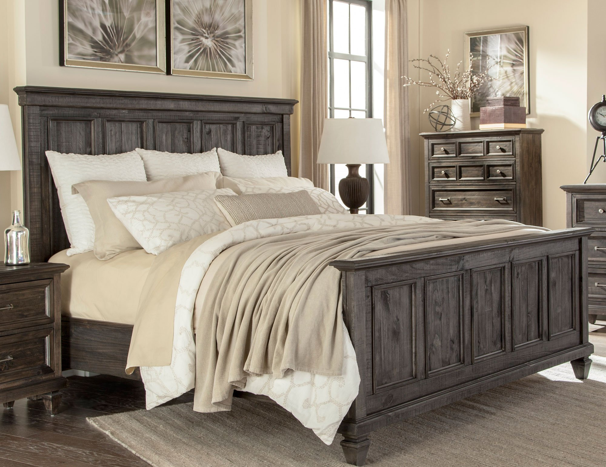 Charcoal gray 6 piece cal king bedroom set calistoga - California king bedroom furniture ...