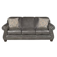 Classic Traditional Charcoal Gray Leather Sofa London