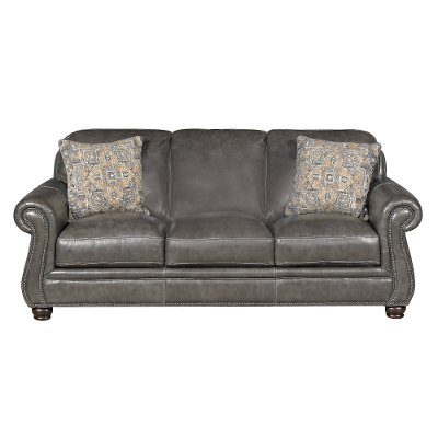Classic Traditional Charcoal Gray Leather Sofa London RC