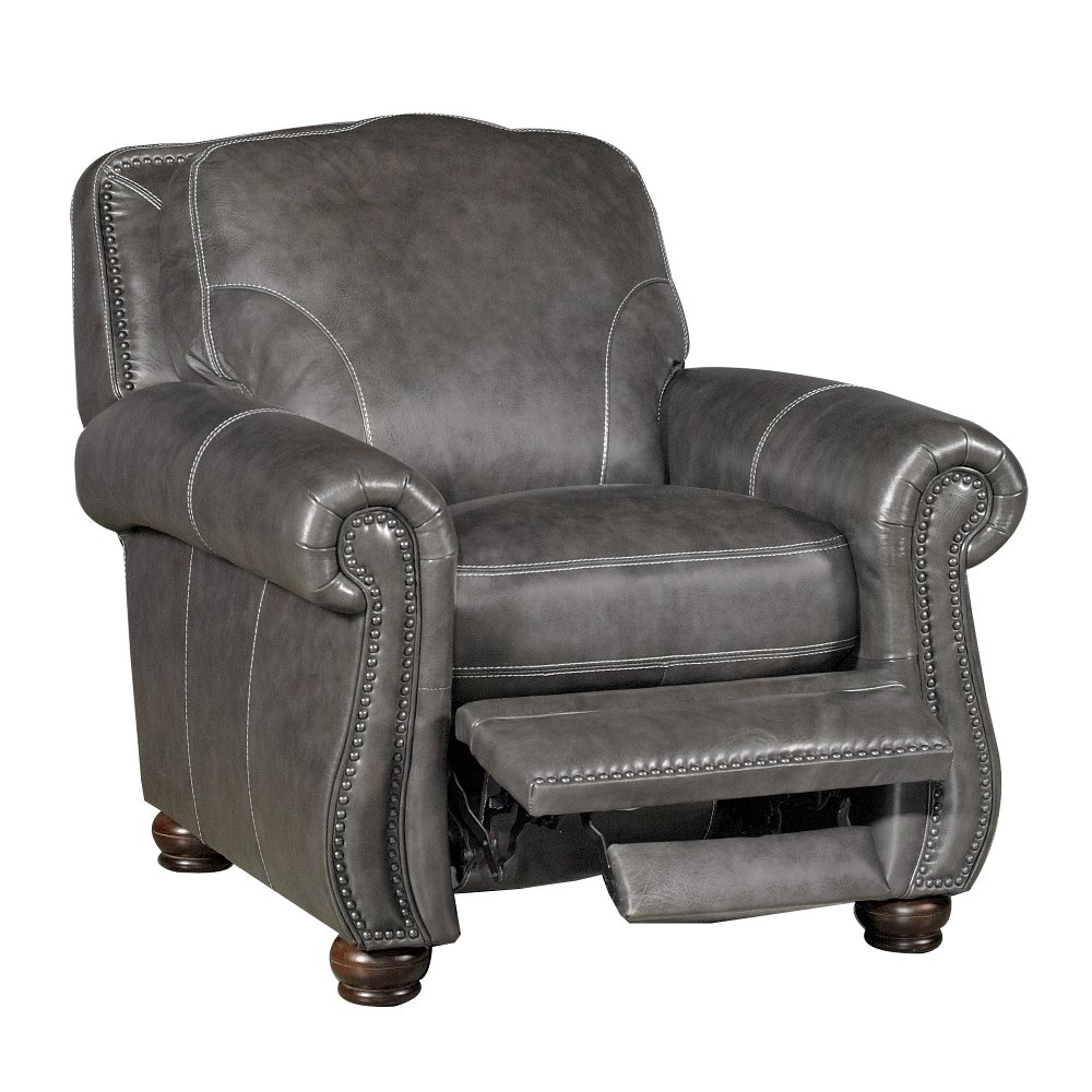 ... London 38 Charcoal Push-Back Leather Recliner ...  sc 1 st  RC Willey & Leather Recliners - Chairs - Living Room - RC Willey islam-shia.org