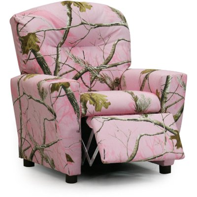 Real Tree Pink Camouflage Upholstered Kids Recliner
